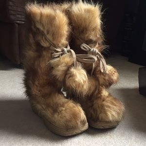 Faux fur knee high boots